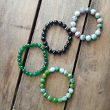 protection stone bracelets jewelry with intention set of 4 in various shades of greens & stones