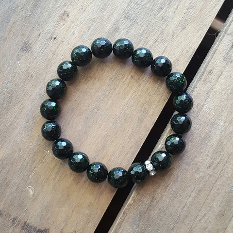 protection bracelet in green goldstone 10mm quality stretch