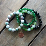 protection stone bracelets jewelry with intention set of 4 in various shades of greens & stones penny