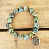 "12mm turquoise agate beads with brass 1"" guardian angel medal bracelet"