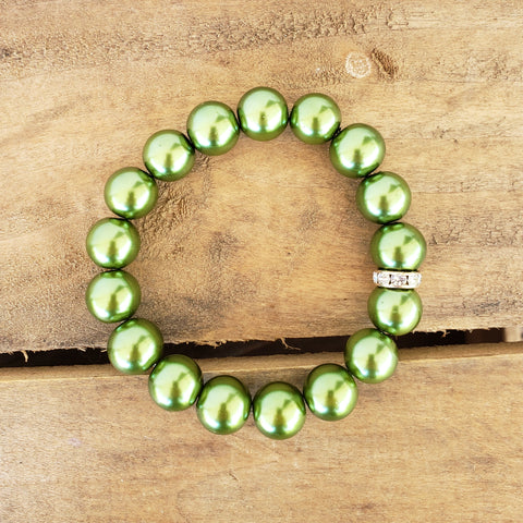 12mm green glass pearl bead bracelet