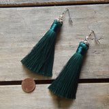 "fringe tassel earrings by Marinella jewelry emerald approx. 3"" long dangle"