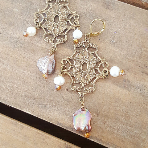 "3"" long vintage brass filigree and freshwater pearl handmade earrings"
