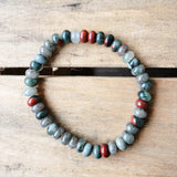 Men's grey oxblood red bloodstone roundel bead stretch bracelet