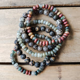 variety of men's stone bead stretch bracelet collection
