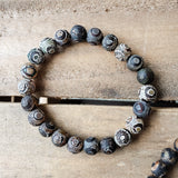 10mm round black rough 3rd eye agate stone stretch bracelet