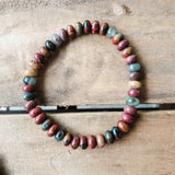 Men's red turquoise jasper roundel bead stretch bracelet