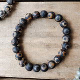 10mm round brown rough 3rd eye agate stone stretch bracelet