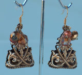 reproduction brass fob w freshwater pearls and crystal dangle earrings