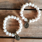 "12mm freshwater pearl beads quality stretch Protection Bracelet brass details & brass 1"" oval Holy Family angel medal"