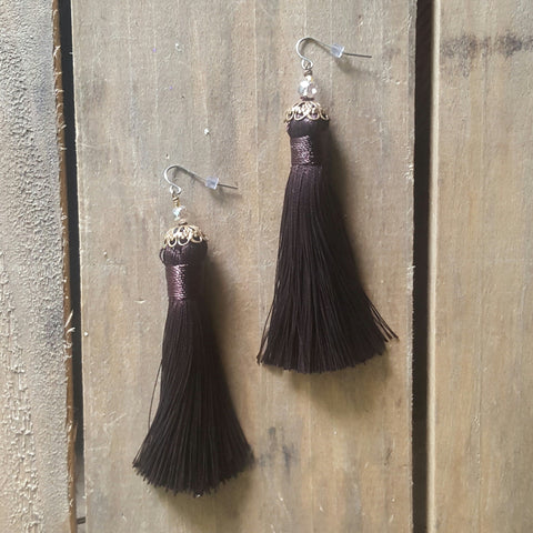 "fringe tassel earrings handmade by Marinella jewelry chocolate approx. 3"" long dangle"