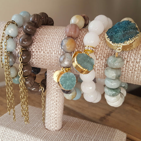 protection bracelets by Marinella druzy drusy's and fringe chain bracelet bar
