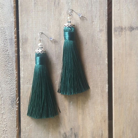 "fringe tassel earrings by Marinella jewelry deep emerald approx. 3"" long dangle"