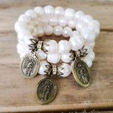 "11mm freshwater pearl beads quality stretch Protection Bracelet brass details & brass 1"" oval Guardian angel medal"