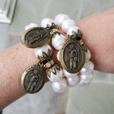 "stretch Protection Bracelet brass details & brass 1"" oval Guardian angel medal"