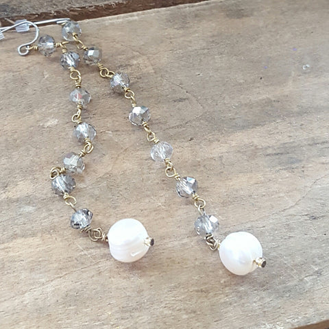 "duster earrings by Marinella jewelry 5"" long crystal brass rosary chain w 10mm freshwater pearl drops"
