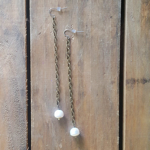 "duster earrings by Marinella jewelry 4"" long vintage brass chain 10mm fw pearls and sequin drops"