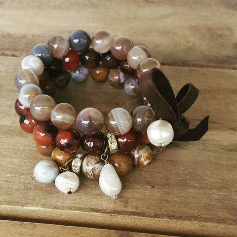 10mm 12mm agate round beads brown colors with freshwater pearls and leather bow stack