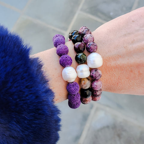 purples and pearls quality stretch bracelet stack 10mm
