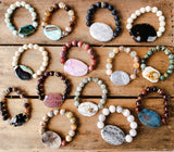 29mm gemstone druzy ovals w 10mm and 12mm beads vintage rhinestones bracelets collection