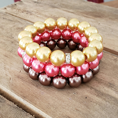 12mm  crystal pearl bead bracelets stack gold hot pink cashmere colors