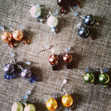 "earrings glass crystal pearls  Swarovski crystals 1"" dangle color options"
