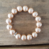 quality stretch bracelet champagne bubbles 12mm glass beads