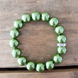 quality stretch bracelet grass green 12mm glass beads