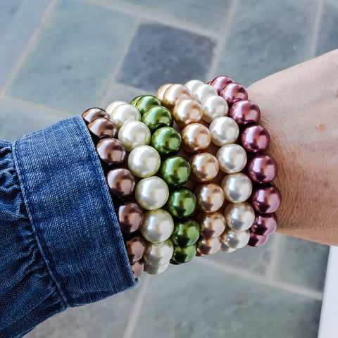 6 glass pearl bracelets stacked rose vanilla champagne moss ivory bourbon colors