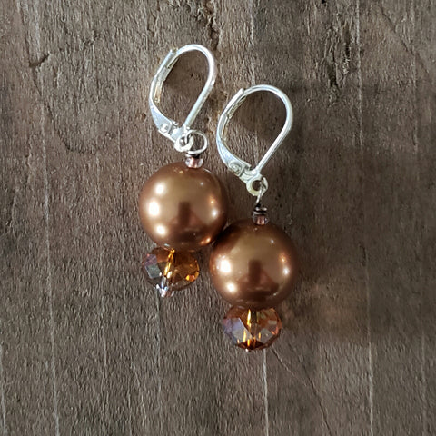 "12 mm glass pearls approx 1"" long dangle bronzed color earrings"
