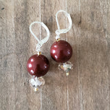 "12 mm Swarovski crystal pearls approx 1"" long dangle Burgundy color earrings"