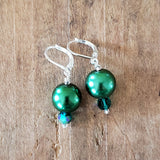 "12 mm glass pearls approx 1"" long dangle emerald green color earrings"