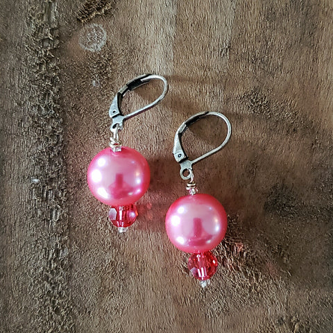 "12 mm glass pearls approx 1"" long dangle hot pink color earrings"