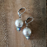 "12 mm glass pearls approx 1"" long dangle platinum color earrings"