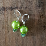 "12 mm glass pearls approx 1"" long dangle winter citrus color earrings"