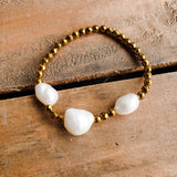 4mm gold hematite beads 3 10-12mm fw pearls stretch bracelet