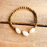 4mm gold hematite beads 3 oval 8mm fw pearls stretch bracelet
