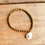 4mm gold hematite beads tear drop crystal studded fw pearl dangle bracelet