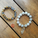 "protection bracelets by Marinella jewelry 14mm white crazy lace agate 1.5"" crystal quartz point charm"