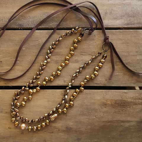 "39"" long golden freshwater pearls crystals and leather necklace"
