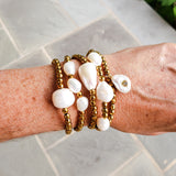 4mm gold hematite with variety of freshwater pearls bracelet collection