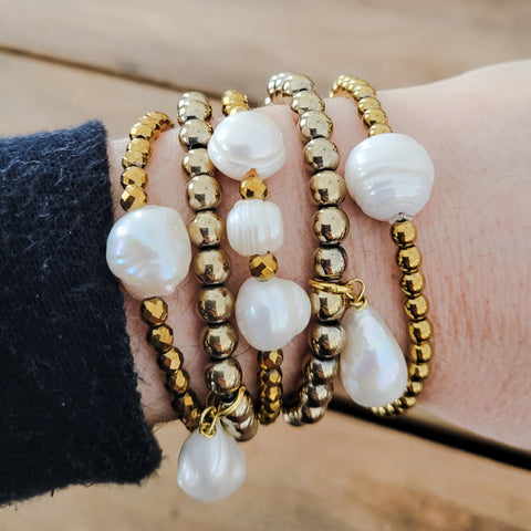 4mm gold hematite freshwater pearls quality stretch bracelets collection