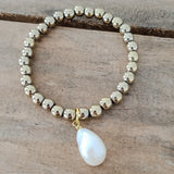 6mm pale gold hematite freshwater pearls quality stretch bracelets collection