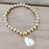 6mm gold hematite freshwater pearls quality stretch bracelets collection
