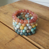 protection bracelets by Marinella stack of 5 10mm stone bead bracelets quartz jade jasper agate amazonite
