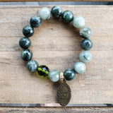 "12mm velvety green quartz beads with 1 dark green prayer bead bracelet 1"" oval St. Christopher Medal"
