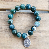 "12mm velvety green quartz beads with 1 dark green prayer bead bracelet 1"" oval St. Gerard Medal"
