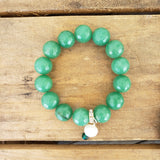 14mm jade beads with freshwater pearl emerald Swarovski crystal dangle bracelet