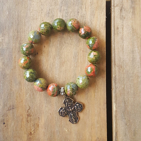 "protection bracelet by Marinella 12mm jasper beads 1"" 4way cross medal"
