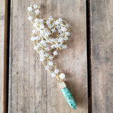 "29"" long brass clear crystal rosary chain necklace w 1.5"" green jasper point & 6mm freshwater pearl pendant"